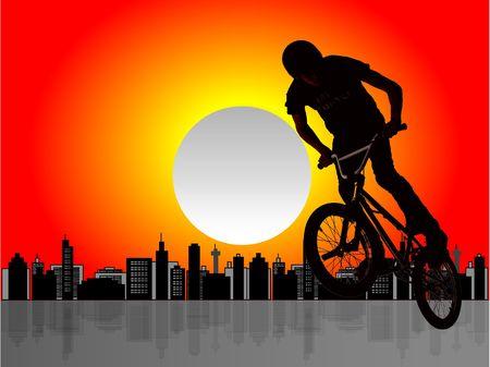 Silhouette of biker boy on cityscape illustration Stock Illustration - 3078691