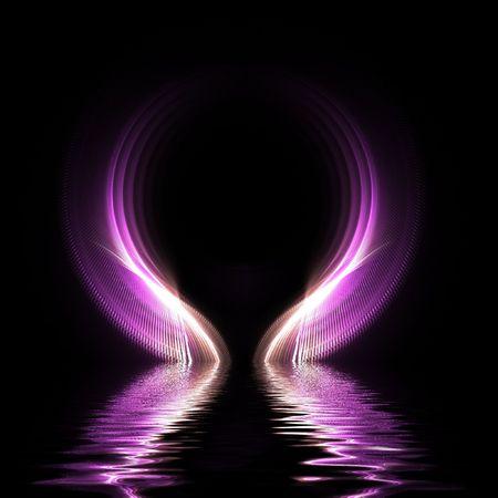 Fractal purple sphere refected on water