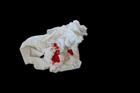 Blood on tissue paper