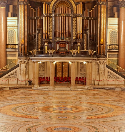 pipe organ: Interior of St Georges Hall, Liverpool, UK. Grade 1 listed building Editorial