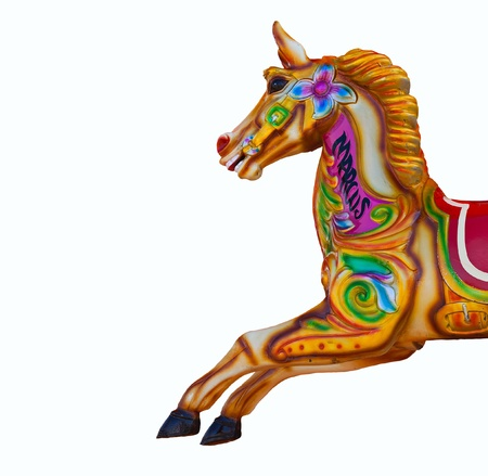 fairground: Colourful Carousel horse isolated on white Stock Photo