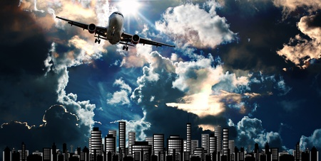 Passenger jet set against cityscape illustration with dramatic sky illustration