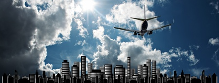 Passenger jet set against sunshine sky with cityscape illustration illustration