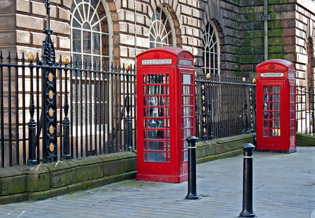 Pair of traditional British telephone boxes