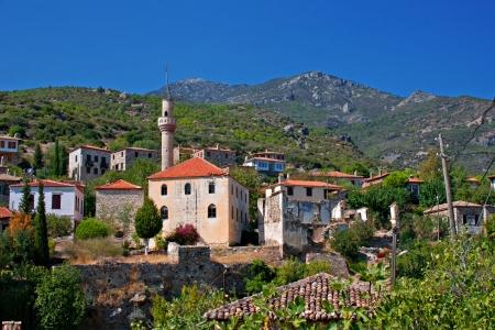 Old abandoned Greek Turkish village of Doganbey, Turkey Stock Photo