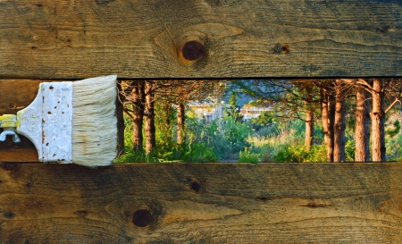 Painting nature on old rustic wooden boards