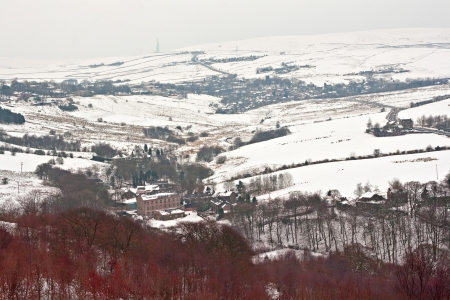 Yorkshire Dales: Remote farmland on the snow covered Yorkshire moors