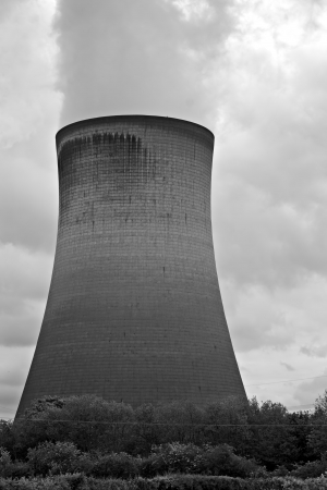 Single coal fired power station cooling tower photo