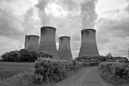 coal fired: Coal fired power station cooling towers Stock Photo