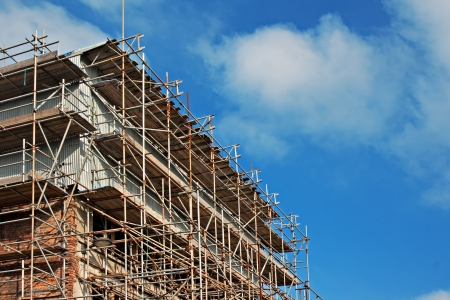 Scaffolding on old building undergoing renovation