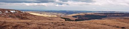 View from Holme Moss, looking towards Holmfirth in the South Pennines, West Yorkshire, England, UK