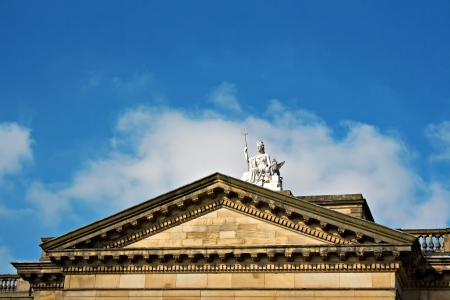 britannia: Statue of Britannia sitting on top of the Walker Art gallery in Liverpool, UK  Stock Photo
