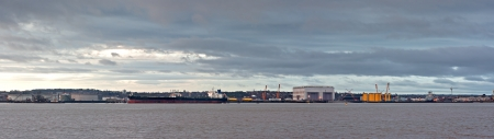 mersey: Oil tanker unloading at oil terminal on the River Mersey, Liverpool, UK