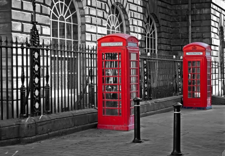 telephone box: Pair of traditional British telephone boxes