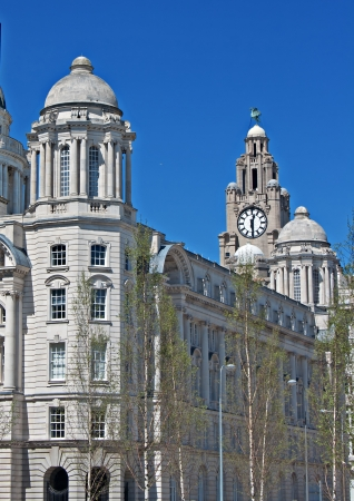 liverpool: A view from the rear of the Liver Buildings, on Liverpool waterfront