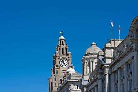 liverpool: A view from the front of the Liver Buildings, on Liverpool waterfront, UK