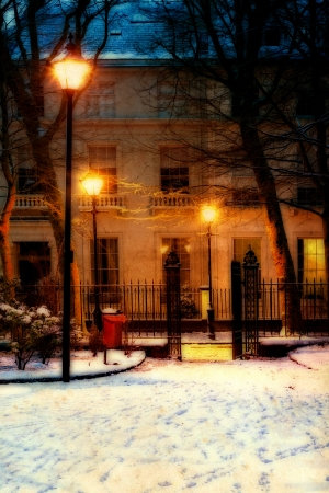 Vintage Georgian houses in traditional winter evening snow scene photo