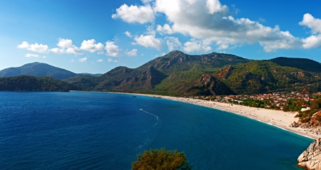 Oludeniz beach in Turkey on a beautiful summers day photo