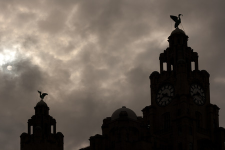 Liverpool Liver Buildings silhouette against moonlit sky