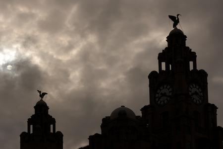 Liverpool Liver Buildings silhouette against moonlit sky