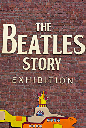 The Beatles Story Exhibition Sign, at Albert Dock, Liverpool, UK  A popular tourist attraction