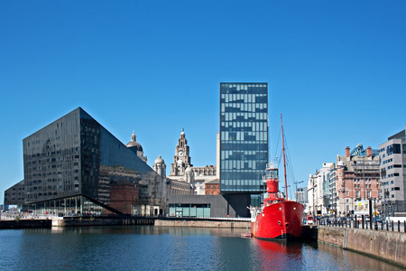 View of Liverpool s historic waterfront, with modern and old architecture