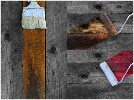 treated board: Collage of old paintbrushes staining timber boards in different colors