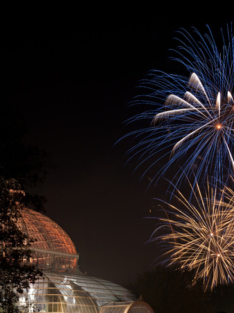 listed buildings: Fireworks light up Sefton Park Palm House, Liverpool,UK