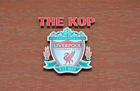 premiership: Liverpool, UK, April 17 2014 - Liverpool football club crest, on the Kop entrance to the stadium.