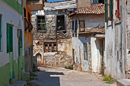 abandoned city: Very pld rundown houses in Turkish village Stock Photo