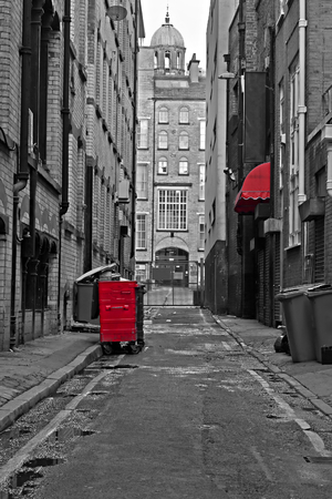 backstreet: Looking down an empty inner city alleyway