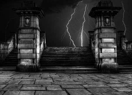 stone steps: Spooky sandstone steps in thunder and lightning storm