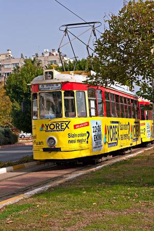nostalgic: ANTALYA TURKEY DECEMBER 1 2014. Old nostalgic public transport tram in ANTALYA TURKEY Editorial