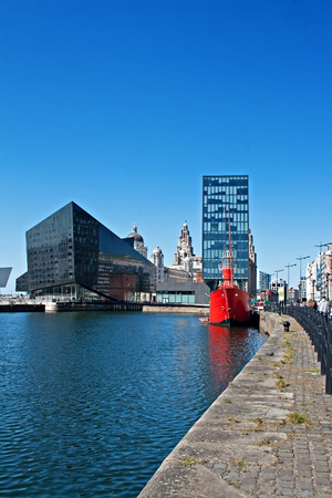 View of Liverpool's historic waterfront, with modern and old architecture.