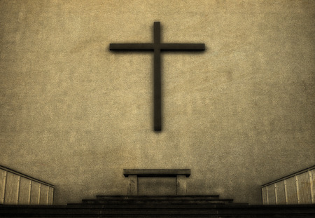 christian altar: Cross on exterior wall of Cathedral, vintage look. Stock Photo