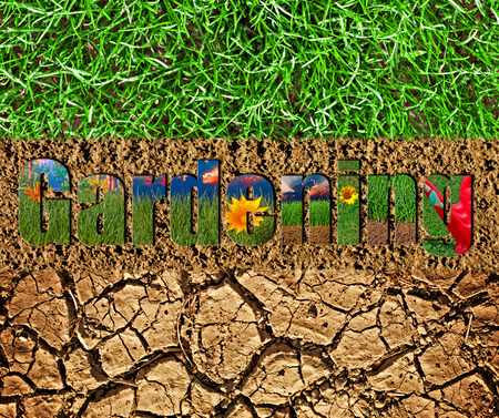 cracked earth: Colorful gardening text on soil and grass background Stock Photo