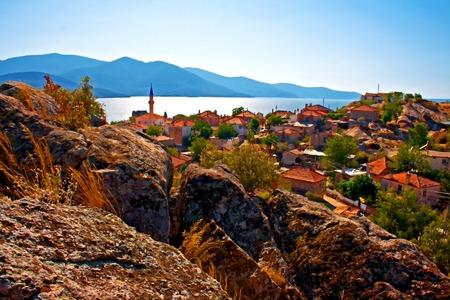lakeside: Digital painting of the village of Kapikiri beside Lake Bafa, Turkey