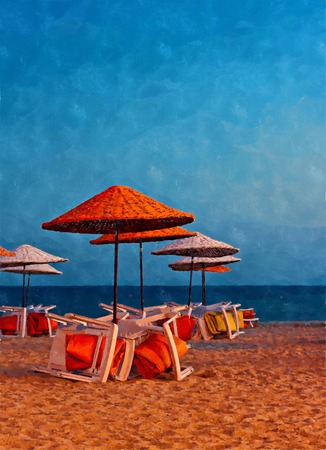deserted: Digital painting of colorful beach umbrellas on a deserted beach Stock Photo
