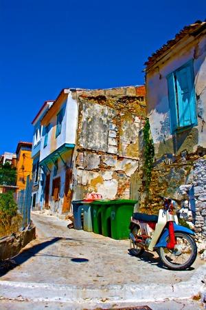 rundown: Digital painting of an old rusty moped in a rundown greek village
