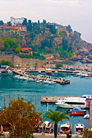 old town: Digital painting of Kaleici, Antalyas old town harbor, Turkey Stock Photo