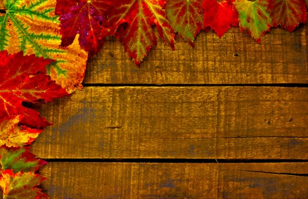 Digital painting of colorful autumn leaves on a wooden background Stock Photo