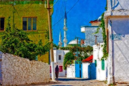 islamic scenery: Digital painting of a Turkish village street scene Stock Photo