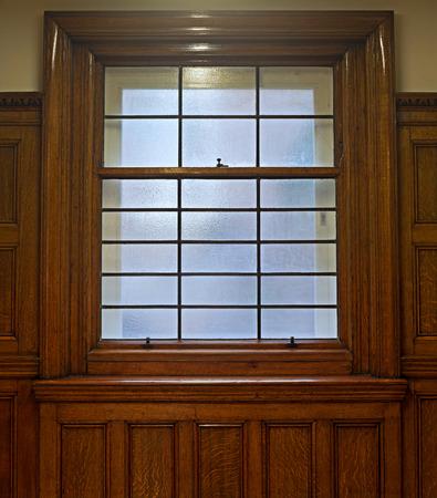 sash: Beautiful solid oak sliding sash window Stock Photo