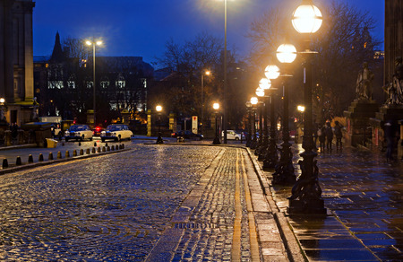 Victorian Street lights in William Brown St Liverpool on a wet night Editorial