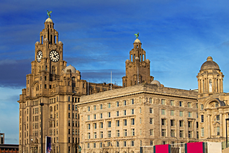 skylines: Royal Liver Building in Liverpool UK, one of the worlds most famous waterfront skylines