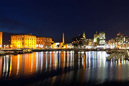 waterfront: The Albert Dock complex in Liverpool at night Editorial
