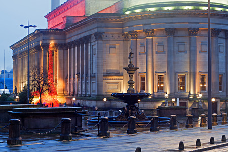 halls: St Georges Hall Liverpool UK at dusk, a Neoclassical Grade 1 listed building