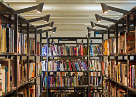 public library: Blurred books in a modern public library