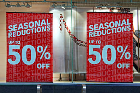 sale sign: Shop window display in the post christmas sales
