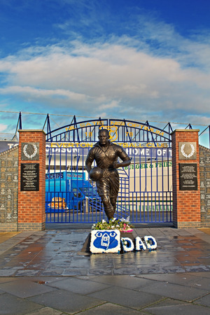 LIVERPOOL UK JANUARY 8TH 2016. Dixie Dean statue and Wall of Fame in front of the Everton Football Club Stadium. Liverpool UK.